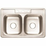 PREMIER STAINLESS STEEL KITCHEN SINK 33 IN. 3-HOLE DOUBLE BOWL DROP-IN KITCHEN SINK WITH BRUSH FINISH