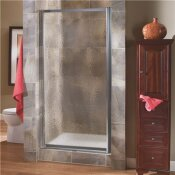 FOREMOST TIDES 27 IN. TO 29 IN. X 65 IN. FRAMED PIVOT SHOWER DOOR IN SILVER WITH OBSCURE GLASS WITH HANDLE