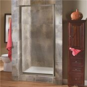 FOREMOST TIDES 27 IN. TO 29 IN. X 65 IN. FRAMED PIVOT SHOWER DOOR IN BRUSHED NICKEL WITH OBSCURE GLASS WITH HANDLE