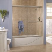 FOREMOST COVE 60 IN. X 60 IN. SEMI-FRAMED SLIDING TUB DOOR IN SILVER WITH 1/4 IN. CLEAR GLASS
