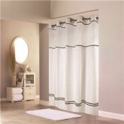 HOOKLESS ESCAPE 71 IN. X 74 IN. WHITE SHOWER CURTAIN WITH LINER BLACK STRIPE