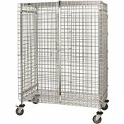 QUANTUM STORAGE SYSTEMS 1000 LBS. 24 IN. X 48 IN. X 69 IN. STEM CASTERED WIRE SECURITY CART IN CHROME