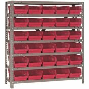 QUANTUM STORAGE SYSTEMS ECONOMY 4 IN SHELF BIN 12 IN. X 36 IN. X 39 IN. 7-TIER SHELVING SYSTEM COMPLETE WITH QSB102 RED BINS