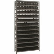 ECONOMY 4 IN. SHELF BIN 12 IN. X 36 IN. X 75 IN. 13-TIER SHELVING SYSTEM COMPLETE WITH QSB101 BLACK BINS