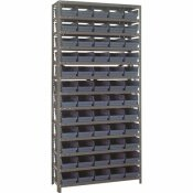 1275-101BL ECONOMY 4 IN. SHELF BIN 12 IN. X 36 IN. X 75 IN. 13-TIER SHELVING SYSTEM COMPLETE WITH QSB102 BLUE BINS