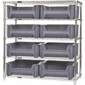 QUANTUM STORAGE SYSTEMS 18 IN. X 36 IN. X 74 IN. GIANT STACK CONTAINER WIRE SHELVING SYSTEM 5-TIER IN GRAY
