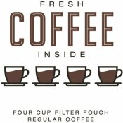 REGULAR INDIVIDUALLY WRAPPED 4-CUP FILTER POD FRESH COFFEE INSIDE (200 PER CASE)