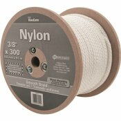 KINGCORD 3/8 IN. X 300 FT. WHITE SMOOTH BRAID NYLON ROPE - 192 LBS SAFE WORK LOAD - REELED