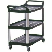 RUBBERMAID COMMERCIAL PRODUCTS 20 IN. W 300 LBS. CAPACITY POLYPROPYLENE/METAL UTILITY CART WITH SWIVEL CASTERS IN BLACK