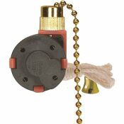 SATCO PRODUCTS SATCO CEILING FAN PULL CHAIN SWITCH WITH METAL CHAIN AND WHITE CORD, 3 SPEED, BRASS