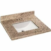 HOME DECORATORS COLLECTION 31 IN. W X 19 IN. D GRANITE VANITY TOP IN GIALLO ORNAMENTAL WITH WHITE TROUGH SINK