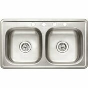 PREMIER STAINLESS STEEL 33 IN. 4-HOLE MOBILE HOME DOUBLE BOWL DROP-IN KITCHEN SINK - PREMIER PART #: 3580080