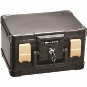 HONEYWELL 0.15 CU. FT. MOLDED FIRE RESISTANT AND WATERPROOF PORTABLE CHEST WITH CARRY HANDLE, KEY AND DOUBLE LATCH LOCK