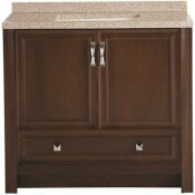NOT FOR SALE - 3584874 - NOT FOR SALE - 3584874 - GLACIER BAY CANDLESBY 37 IN. W X 19 IN. D BATHROOM VANITY IN COGNAC WITH SOLID SURFACE VANITY TOP IN AUTUMN WITH WHITE SINK - GLACIER BAY PART #: CD36P2-CG