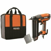 RIDGID 18-GAUGE 2-1/8 IN. BRAD NAILER WITH CLEAN DRIVE TECHNOLOGY, TOOL BAG, AND SAMPLE NAILS