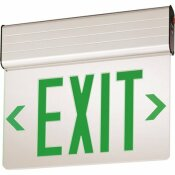 LITHONIA LIGHTING EDG ALUMINUM LED GREEN EMERGENCY EXIT SIGN