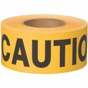 BT 100 NON-ADHESIVE BARRICADE FLAGGING TAPE, CAUTION, YELLOW, 3 IN. X 300 FT. (1 ROLL)