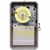 INTERMATIC T100 SERIES 120-VOLT 24-HOUR INDOOR/OUTDOOR MECHANICAL TIMER SWITCH DPST, GRAY