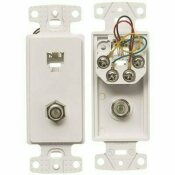 HUBBELL WIRING 1-GANG 1 F-TYPE COAX CONNECTOR AND 1 RJ11 JACK 6-POSITION 6-CONDUCTOR NETSELECT PLATE FRAME, WHITE