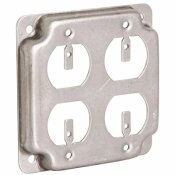 RACO 4 IN. SQUARE EXPOSED WORK COVER FOR 2-DUPLEX RECEPTACLES