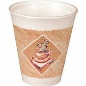 DART CONTAINER BROWN AND GREEN 16 OZ. THERMO-GLAZE CAFE G STYROFOAM COFFEE CUPS (1,000-PER CASE)