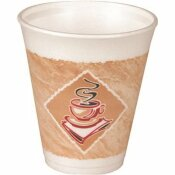 DART CONTAINER BROWN AND GREEN 8 OZ. THERMO-GLAZE CAFE G STYROFOAM COFFEE CUPS (1,000-PER CASE)
