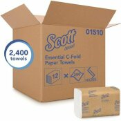 SCOTT C-FOLD PAPER TOWELS WITH FAST-DRYING ABSORBENCY POCKETS (12-PACKS/CASE, 200 C-FOLD TOWELS/PACK)